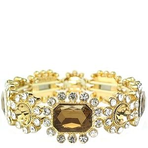 Monet Gold Tone & Brown Stretch Bracelet | 119